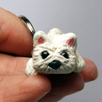 White Terrier Dog  Keychain Miniature