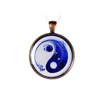 Yin Yang  Blue Pendant Yoga Antique Copper Pendant
