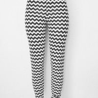Chevron Knit Leggings Womens Clothing Pants Black and White