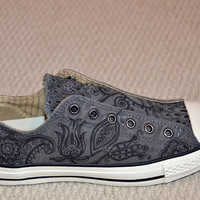 Paisley/Floral designs on Charcoal Converse All Stars