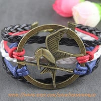 Hunger Games Bracelet Bronze Mocking Jay Charm Bracelet Multistrand Braid -N583