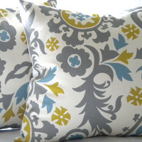 Accent pillow cover decorative Suzani Grey print  18 x 18