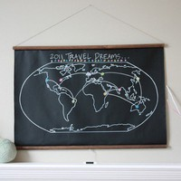 Chalkboard World Map  LARGER SIZE by shopdirtsa on Etsy