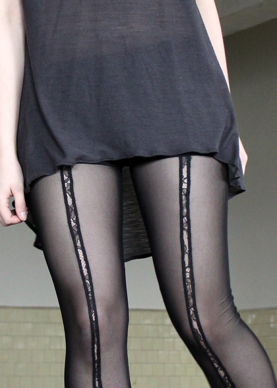 Mesh and Lace Leggings - sheer, black lace insert, romantic, sexy - small
