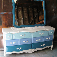 Vintage Refurbished Blue Ombre French Provincial Dresser &amp; MIrror Combo