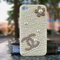 Pearl iphone 4 4s case Deco Den Kits for Handmade Bling iphone 4 case with coco chanel logo (Case not included)