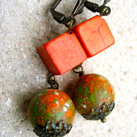 pumpkin and olive earrings