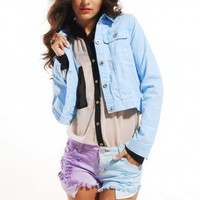 Reverse Tie Dye Stud Back Shorts in Purple/Blue