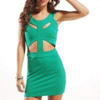 Cutout Sleeveless Knit Dress in Green