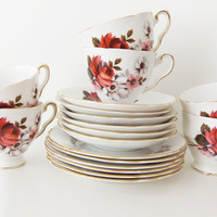 Vintage English China Tea Set - Royal Stafford Bone China Tea Set  in Honey Bunch pattern