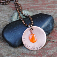 Happy Day Pendant with Carnelian Stone on a Copper Ball Chain Necklace