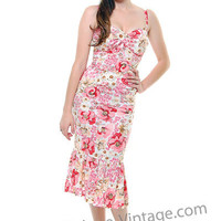 Flower Patterned pink and white Dress