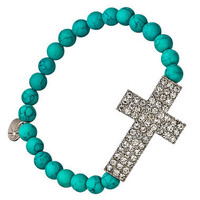 Blu Bijoux Curved Crystal Cross Turquoise Stretch Bracelet - Max &amp; Chloe