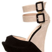 Monaco Black and Beige Belted Color Block Wedges - $39.00