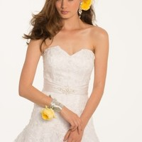 Tulle Over Satin Beaded Motif Band Gown