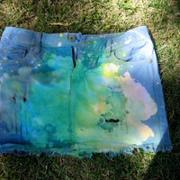 Distressed Rainbow Jean Mini Skirt