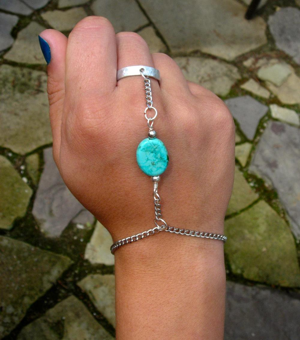 Silver And Turquoise Slave Bracelet.. on Luulla