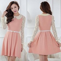 Bessky(TM) 2014 New Womens Lace Preppy Peter pan Collar Long Sleeve Dress (M, Pink)