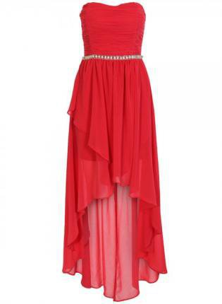 Chiffon Dress on Coral Shirred Layered High Low Strapless Chiffon Dress On Wanelo