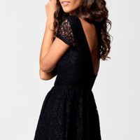 Black Lace Short Sleeve Mini Dress with Low Scoop Back