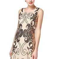 TopStyliShop Women's Vines Sequins Sleeveless Bodycon Dress