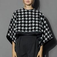 Houndstooth Wool Blend Poncho