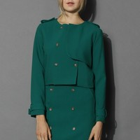 Double Breasted Flap Coat and Skirt Set in Emerald Green