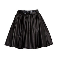Paprika Black Leather-Look PU Skater Skirt