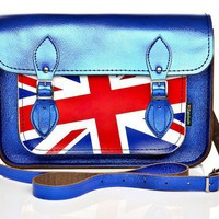 Satchel | Handmade leather | Cobalt | Metallic | Union Jack |