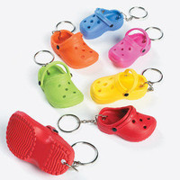 Lot of 12 Crocs Style Clog Rubber Slipper Key Chains Party Favors