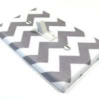 White and Gray Chevron Riley Small Light Switch Cover Zig Zag Zigzag Switch Plate Switchplate Modern Home Decor Grey 832