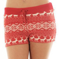 RED WINTER PRINT SHORTS @ KiwiLook fashion