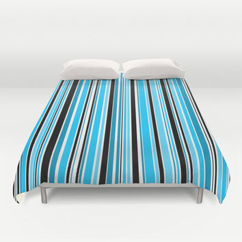 Candy Stripe Blue Duvet Cover by Alice Gosling