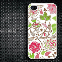 iphone 4 case iphone 4s case iphone 4 cover classic illustrator  red flower green leaves graphic design printing ($13.99)