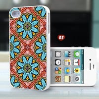 iphone 4 case iphone 4s case iphone 4 cover classic colorized blue red  pattern design ($13.99)