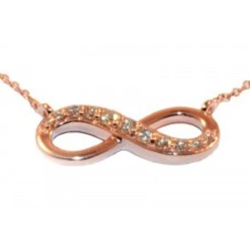 PZ4402-14-P 14kt Rose Gold and Diamond Infinity Pendant