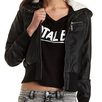 Convertible Faux Leather Bomber Jacket by Charlotte Russe - Black