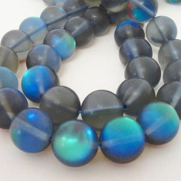 """Blue Moonstone Matte Round Beads,  Synthetic Small Glass Grey Beads for Jewelry Beading, 8mm 7.5"""" Strand"""
