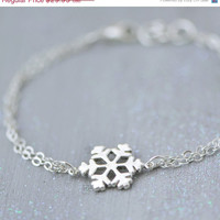 SALE Snowflake Bracelet - Sterling Silver Snowflake Jewelry - Winter Jewelry - Snowflake Charm - Christmas Gift - Sterling Snowflake Earring