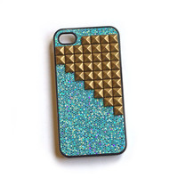 Aqua blue cellphone cover with glitter and Studs, cellphone cover, Hard case, iPhone Cover, cover for Android,trendy, iPhone 4s, iPhone 4,