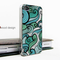 Iphone case iphone 4 case iphone 4s case iphone 4 cover Iphone light silvery green white curve  image unique design printing ($16.99)