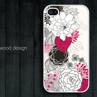 iphone 4 case iphone 4s case iphone 4 cover beautiful unique case illustration white flower and red flower design printing ($13.99)