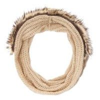 Faux Fur Trim Cable Knit Infinity Scarf by Charlotte Russe - Tan