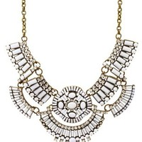 Opaque Stone Statement Bib Necklace by Charlotte Russe - White Combo