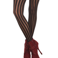 Black Shadow Stripe Tights