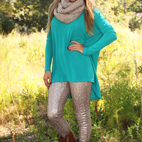 RESTOCK: Time On The Heart Tunic: Caribbean Green