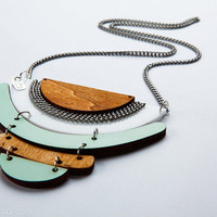 Kites Geometrical necklace - perspex, formica and wood