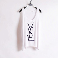 Melted YSL - Women Tank Top - White - Sides Straight