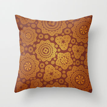 Warm Gold Paisley Pattern Throw Pillow by All Is One