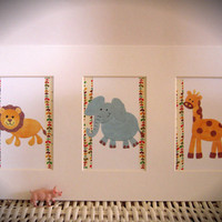 "Set of Three 4""x6"" Matted Jungle Animal Prints"
